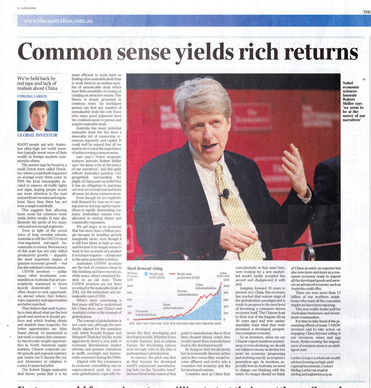 australian standfirst discusses investor education in 2014 in the australian newspaper