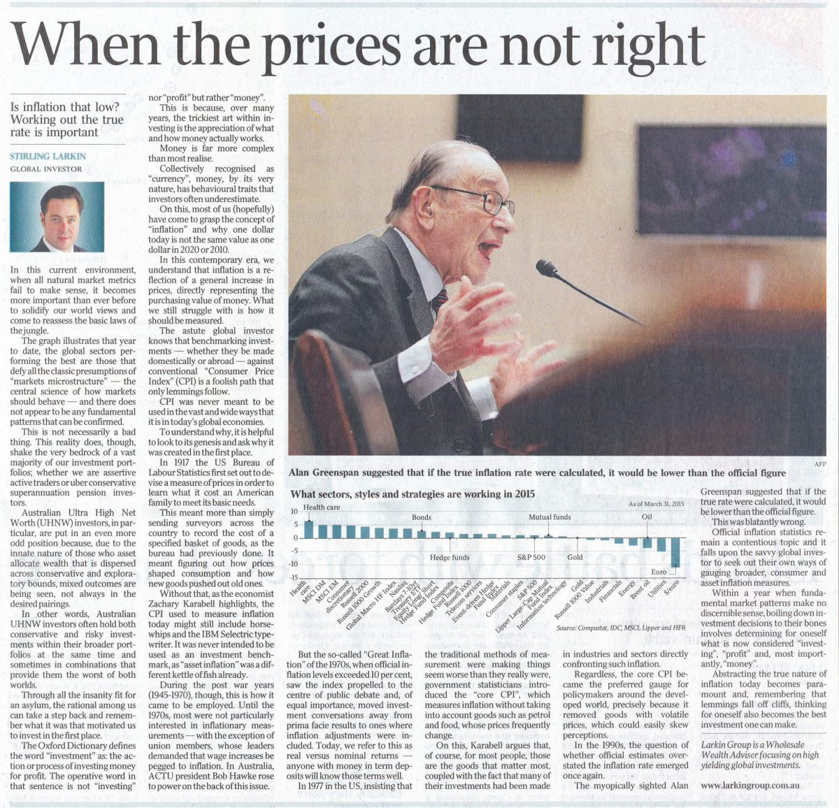 australian standfirst discusses inflation in 2015 in the australian newspaper