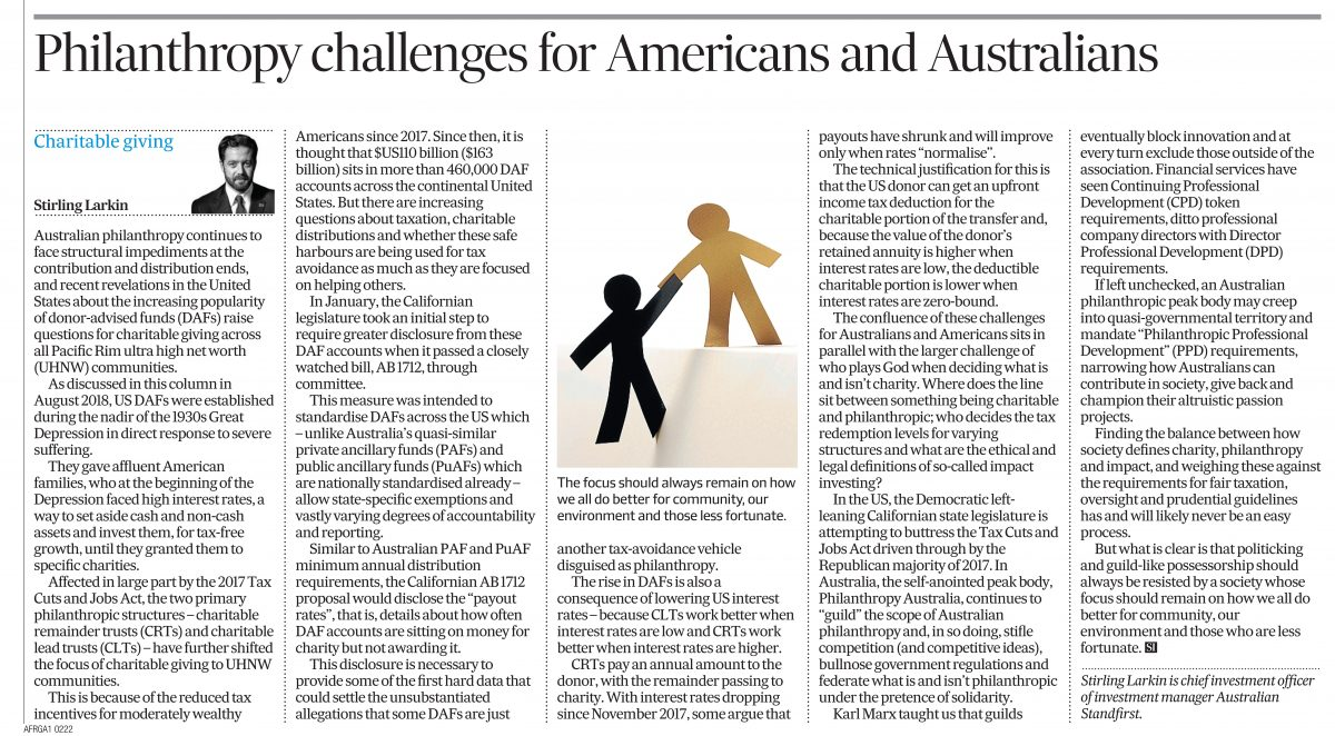 Philanthropy Challenges For Americans and Australians